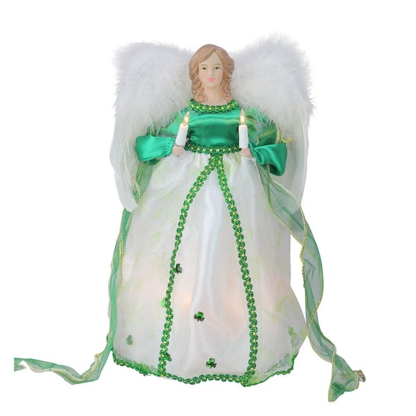 """Small Angel Christmas Tree Topper: Shop 12"""" Lighted Green And White Luck Of The Irish Angel"""