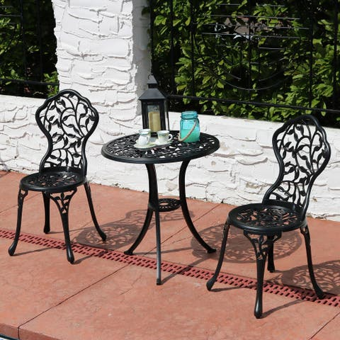 Sunnydaze 3-Piece Outdoor Cast Aluminum Patio Furniture Bistro Set - Black