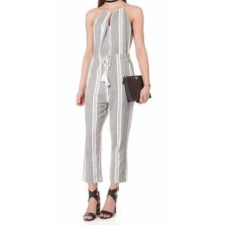 Audele NEW Gray White Women's Size Small S Striped Halter Jumpsuit