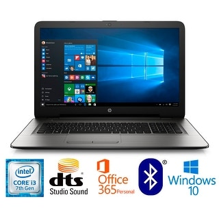 HP 17-x114cy Intel Core i3-7100, 8GB, 17.3 HD+ WLED Laptop Office 365 Bundle - Silver