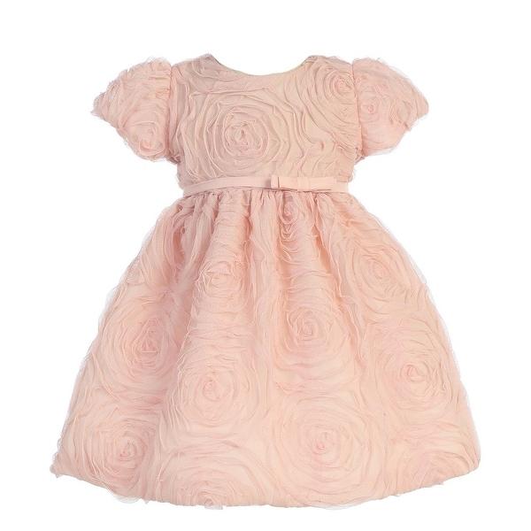 Sweet Kids Baby Girls Pink Rosette Textured Flower Girl Dress 6-24M