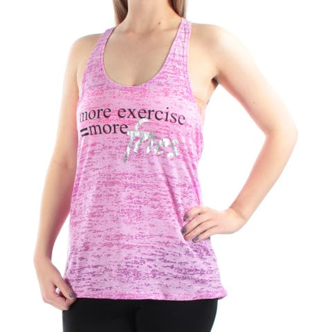 MATERIAL GIRL Womens Purple Racerback MORE EXERCISE=MORE FRIES Sleeveless Scoop Neck Active Wear Top Size: M