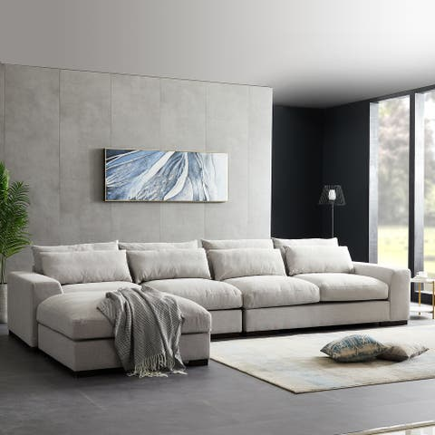 L-Shaped Sectional Down Sofa with an Chaise Lounge