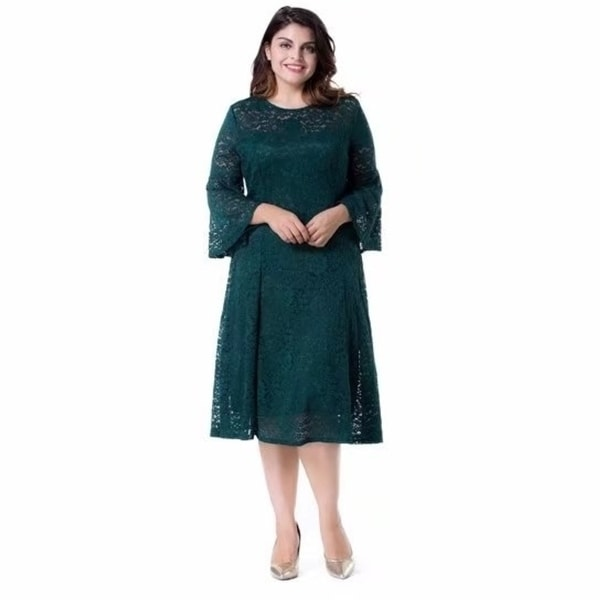 Shop Women\'s Plus Size Floral Lace With Bell Sleeves Midi A-Line ...