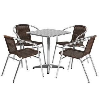 """Offex 23.5"""" Square Aluminum Indoor-Outdoor Table With 4 Rattan Chairs"""