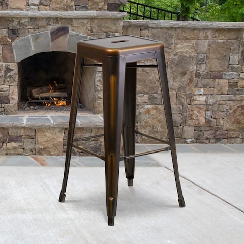 """30"""" High Backless Distressed Metal Indoor-Outdoor Barstool - Patio Chair - 17""""W x 17""""D x 30""""H"""