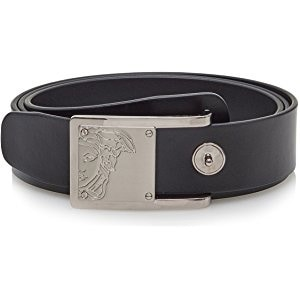 VERSACE Collection Men's Black Leather Half Medusa Belt Size 110 201
