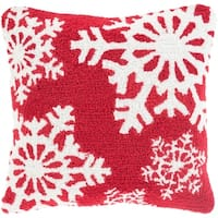 """18"""" Candy Apple Red and Snowy White Decorative Snowflake Christmas Throw Pillow Cover"""