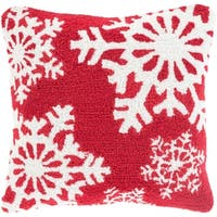 """18"""" Candy Apple Red and Snowy White Decorative Snowflake Christmas Throw Pillow"""