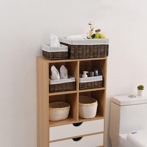 Handmade Wicker Storage Baskets Set Woven Decorative Organizing Nesting Baskets for Bedroom Bathroom(Set of 4,Brown)