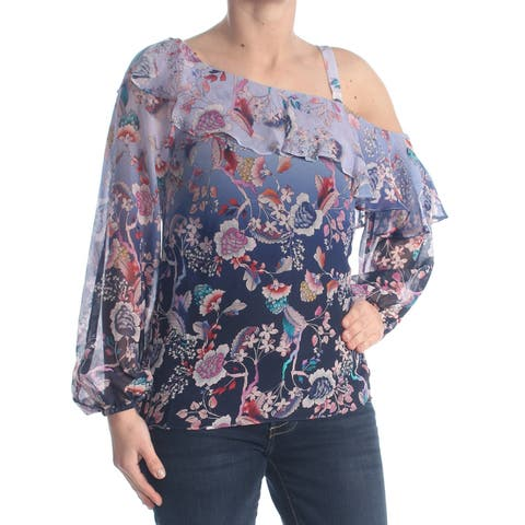 NANETTE LEPORE Womens Navy Sheer Blouse Top Size: XS