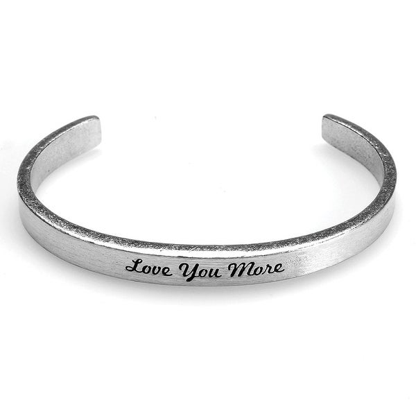 Women's Note To Self Inspirational Lead-Free Pewter Cuff Bracelet - Love You More