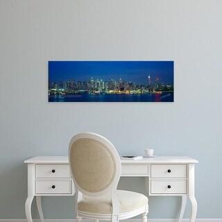 Easy Art Prints Panoramic Images's 'Manhattan Skyline From Weehawken, NJ, Night, New York' Premium Canvas Art