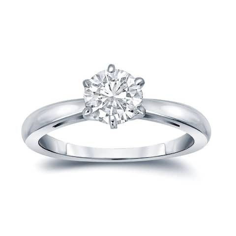 Auriya Platinum 1 1/2ctw Round Solitaire Diamond Engagement Ring 6-Prong Certified