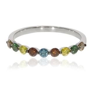 Prism Jewel 0.54Ct Round Cut Multi Color Diamond Anniversary Ring