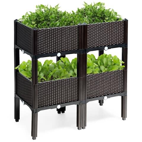 Costway Set of 4 Raised Garden Bed Elevated Flower Vegetable Herb Grow