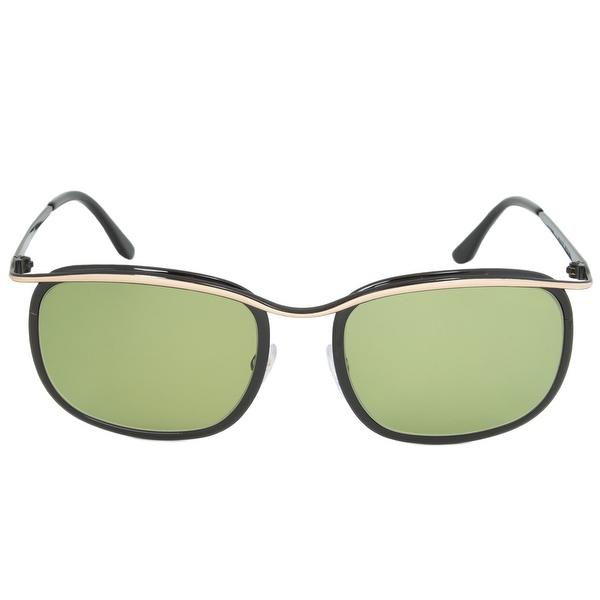Tom Ford FT0419 05N Marcello Rectangular Sunglasses   Rose Gold/Black Frame    Green Lens