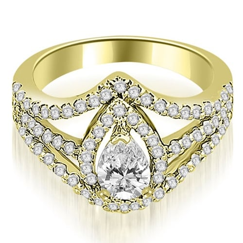 1.15 cttw. 14K Yellow Gold Halo Pear Cut Diamond Engagement Diamond Ring