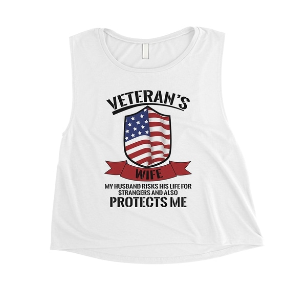 85bc96c1efa Veteran's Wife Crop Tank Top Women White Cute 4th Of July Outfit
