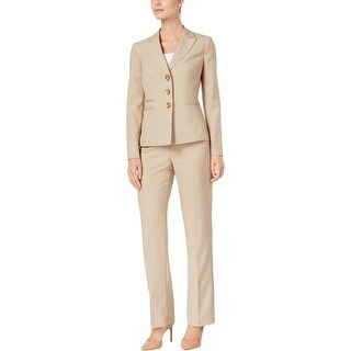 Le Suit Womens Petites Pant Suit Shadow Stripe Three Button