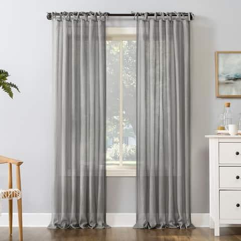 No. 918 Bethany Slub Textured Linen Blend Sheer Tie Top Curtain Panel
