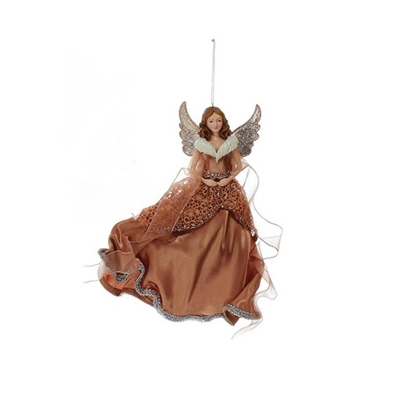 """10"""" Rose Gold Brunette Angel in Lace Dress with Ribbon Christmas Ornament"""
