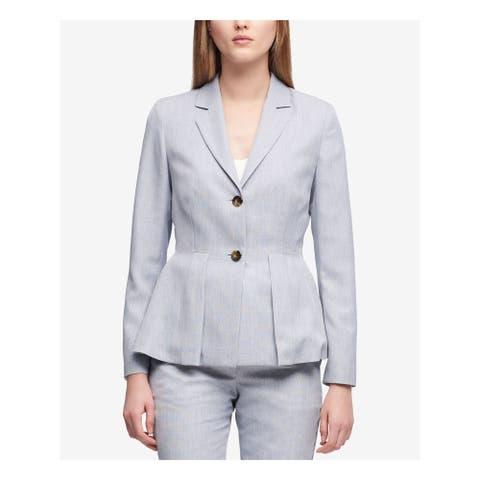 DKNY Womens Light Blue Two Button Peplum Jacket Size 14