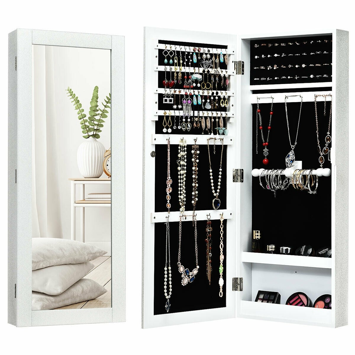 Gymax Jewelry Cabinet Wall Mounted Mirrored Armoire Storage Organizer Overstock 23057252