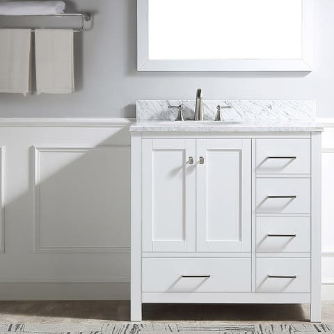 Proox 36-inch Single Bathroom Vanity Set with Carrara White Marble Top