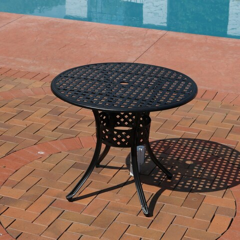 Sunnydaze Black Cast Aluminum Outdoor Round Patio Dining Table - 33-Inch