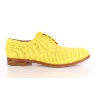 Dolce & Gabbana Yellow Raffia Woven Oxfords Broques Shoes - 39