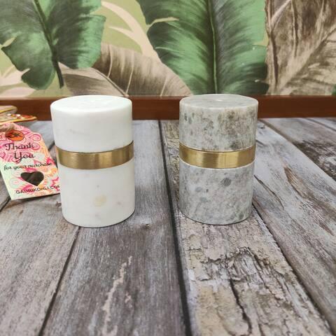 "GAURI KOHLI Joda Marble Salt & Pepper Shaker Set - 3""x2"""
