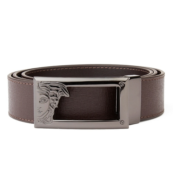 Versace Collection Men's Medusa Steel Buckle Saffiano Leather Belt Brown
