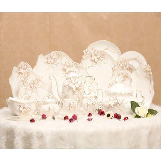 Luxury Design Hand Painted Bone China 75 piece Dinnerware Set with Gold Inlay Fancy Floral Design  sc 1 st  Overstock.com & Luxury Design Hand Painted Bone China 75 piece Dinnerware Set with ...