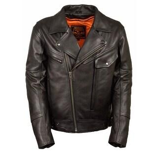 Mens Leather Utility Pocket Motorcycle Jacket Side Set Belt