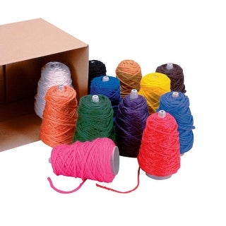 Trait Tex Acrylic Rug Filler Jumbo Roving Collection Cone, 1000 yd, Assorted Color, 8 oz Box, Pack of 12
