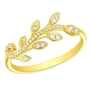 Prism Jewel 0.12Ct Round G-H/I1 Natural Diamond Olive Leaf Ring