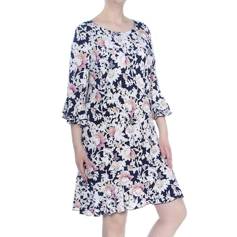 ROBBIE BEE Womens Navy Ruffled Floral Print 3/4 Sleeve Above The Knee Dress Plus Size: 3X