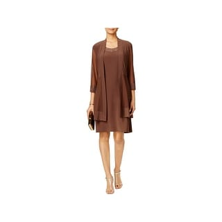 R & M Richards Womens Petites Dress With Cardigan 2PC Shimmer