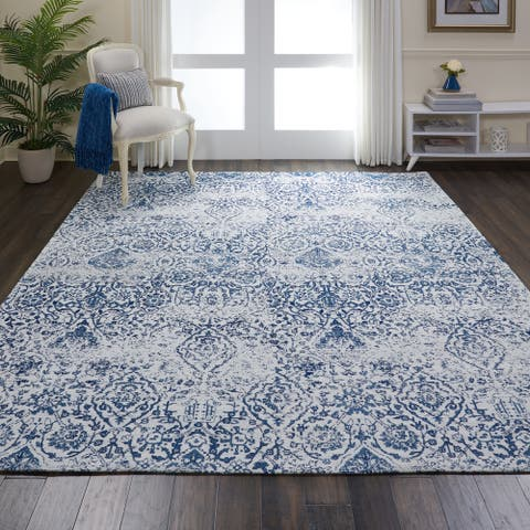Nourison Damask Distressed Contemporary Area Rug