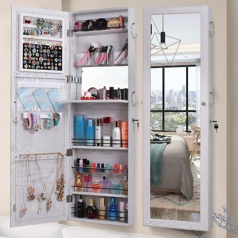 Retro Wood Whole Body Mirror Decoration Storage Mirror Jewelry Mirror Cabinet White