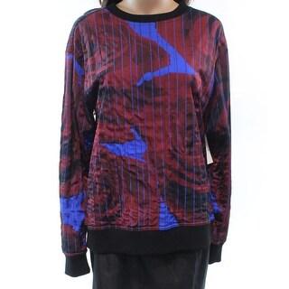 DKNY NEW Black Womens Size Medium M Printed Textured Crewneck Sweater