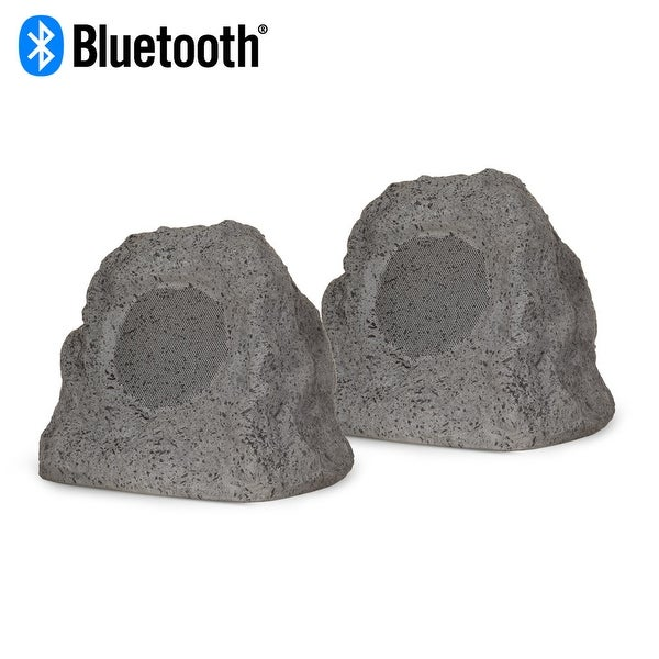 Theater Solutions RK4GBT Powered Bluetooth Outdoor Granite Rock Speaker Pair