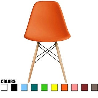 2xhome Orange - Eames Style Molded Bedroom & Dining Room Side Ray Chair with Natural Wood Eiffel Legs Base