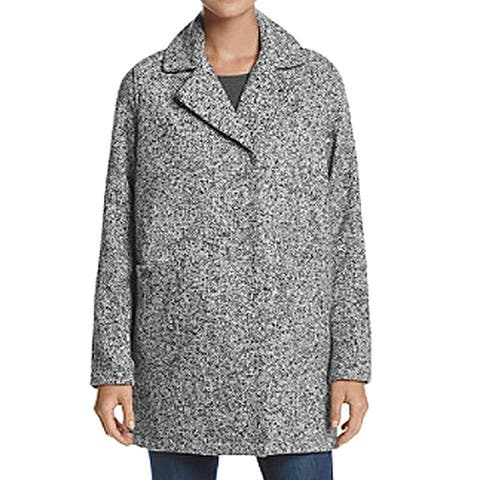 Steve Madden Gray Womens Size XL Notched-Lapel Marled-Knit Coat