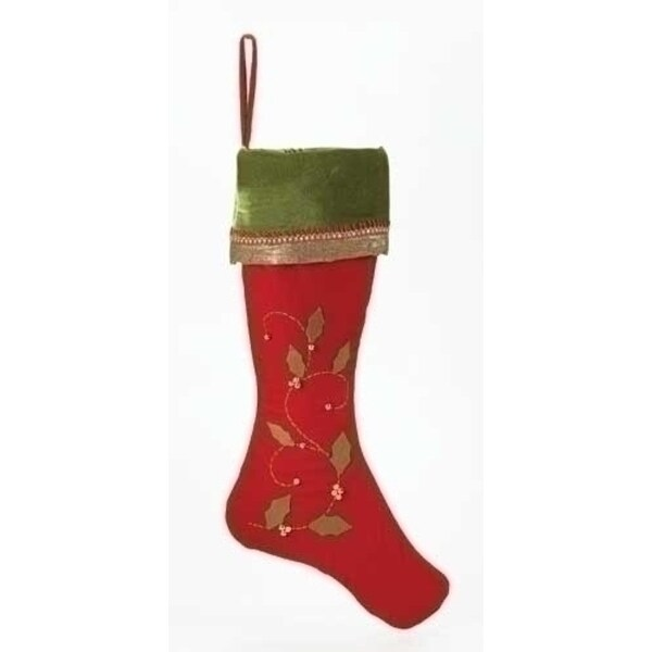 Pack of 4 Elegant Red Christmas Stockings with Green Cuffs and Holly Leaves 26""
