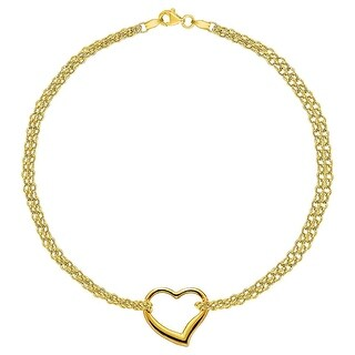 MCS Jewelry Inc 14 KARAT YELLOW GOLD DOUBLE STRAND ANKLET BRACELET WITH CENTER HEART (10 INCHES)