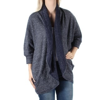 CHELSEA SKY $78 Womens New 1610 Navy Open Cardigan 3/4 Sleeve Sweater S B+B