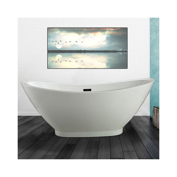 Miseno Mt6933fso 69 Freestanding Acrylic Soaking Tub With Center Drain Embly And