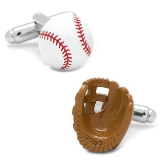 3D Baseball and Glove Enamel Cufflinks - Brown